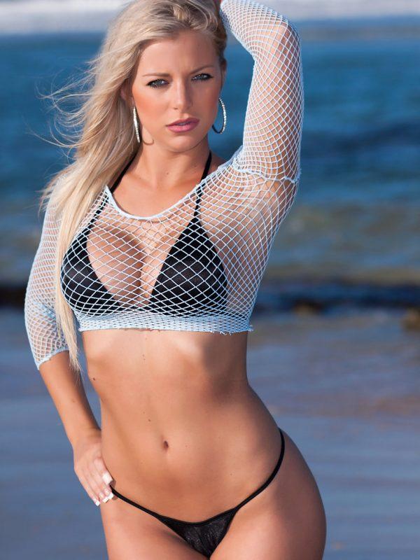 Nicole Hampton | Mesh Whale Tail Thong Bikini
