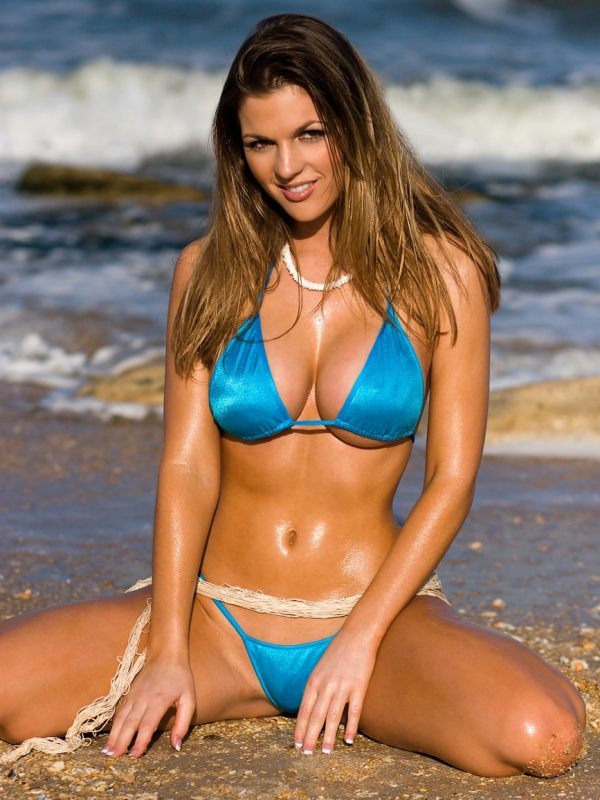 Jillian Beyor | Busty Blue Mini Thong Bikini