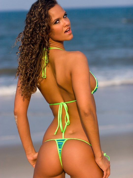 Brittany Michelle | Striped Thong Bikini